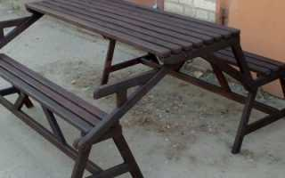 Садовый стол-трансформер с одной скамейкой