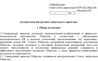 Должностная инструкция директора (генерального директора, управляющего) предприятия