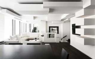 Интерьер необычной черно-белой квартиры