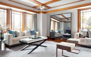 Стеклянные и зеркальные стены в интерьере гостиной